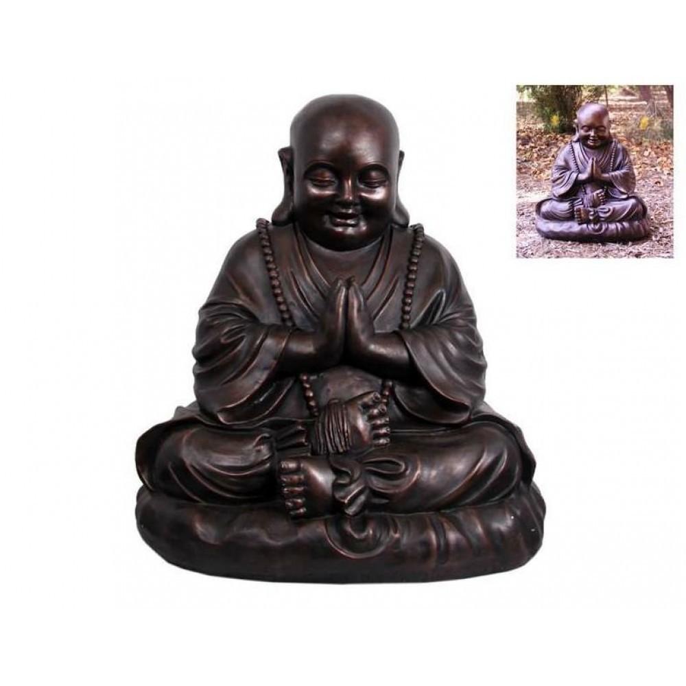 52cm Bronze Happy Praying Buddha Fat