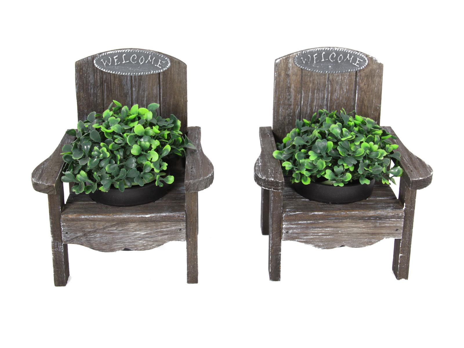 1pce 20cm Wooden Novelty Garden Pot Holder Welcome Chair
