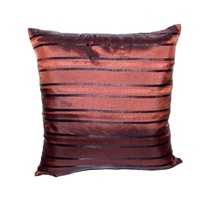 40x40cm Chocolate with Modern Black Stripe Double Sided Cushion with Insert