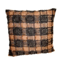 40x40cm Brown / Beige Shag Cushion with Insert with Square Shag Pile Design