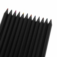 Set of 12 Brilliant Coloured Black Wooded Coloured Pencils MQ-007