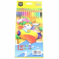 Set of 12 Kids Colour Bright Colour Colouring Pencils Drawing - Plane MQ-001