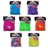 Colour Beaded Glitter Loom Bands 300pce + 16 S Clips
