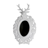 50x30cm Mirror with White Deer Head in a Satin Finish