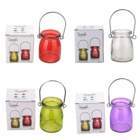 Glass with Metal Hanger Tealight Holder in Bright Colours Party Theming 8.5x6.5cm