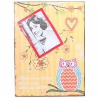 35cm Yellow Owl Metal Magnetic Photo / Picture Frame Hanging Vintage Style