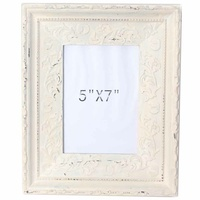 28x24cm Cream Wash Wooden Photo Frame Embossed Look Beach Vintage Style 5x7""