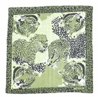 Bandana - Animal / Tiger Print in green artistic tones 100% Cotton 55x55cm