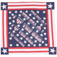 "Bandana - ""I love the USA"" American Flag Style 100% Cotton 55x55cm"