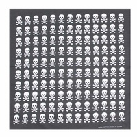 Bandana - Skull Themed Black and White Checker Board Style 100% Cotton 55x55cm