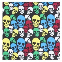 Bandana - Skull Themed Multi Coloured Style 100% Cotton 55x55cm