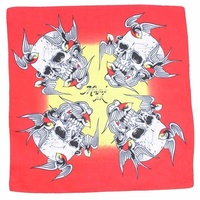 Bandana - Birds Carrying Skull bright yellow and red design 100% Cotton 55x55cm