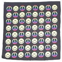 Bandana - Peace and Smiley Face Black, Rainbow and Yellow 100% Cotton 55x55cm