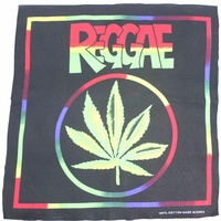 Bandana - Black / Rainbow Boarder, Reggae Hemp Image 100% Cotton 55x55cm