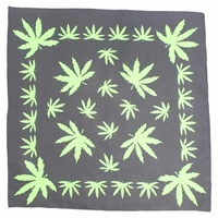 Bandana - Black and Green Hemp Leaf Design Background 100% Cotton 55x55cm