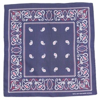 Bandana - Navy Blue with Red Traditional Party Paisley 100% Cotton 55x55cm