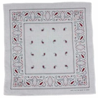 Bandana - White with Red Traditional Party Paisley 100% Cotton 55x55c
