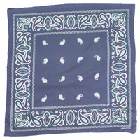 Bandana - Navy Blue with Green Traditional Party Paisley 100% Cotton 55x55cm