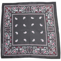 Bandana - BLACK with Red/White Traditional Party Paisley 100% Cotton 55x55cm