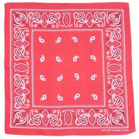 Bandana - Red with White and Black Traditional Party Paisley 100% Cotton 55x55cm
