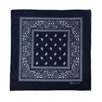 Bandana - Black Traditional Nautical Paisley 100% Cotton 55x55cm