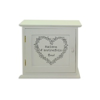 23cm White French Provincial Key, Jewellery Box with Door Love Heart MQ023