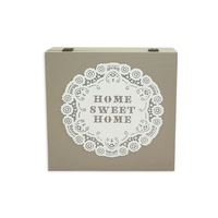24cm Mocca French Provincial Tea Box With Home Sweet Home Wording MQ030