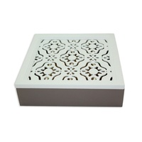 26.5cm Square MDF Tea Box, White French Provincial Lid Hinged & Mocca Base MQ031