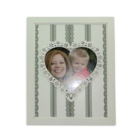 24x19cm Vintage White / Grey French Provincial Love Heart Photo Frame MQ035