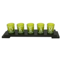 43x9cm DREAM Tealight Candle Holder Set with Glass Cups French Provincial MQ-055