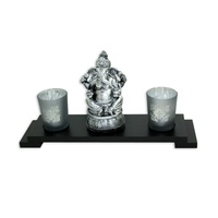 33x9cm Tealight Candle Holder with Glass Cups & Silver/Black Wash Ganesh MQ-061