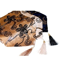220x32cm Beige Designer Vintage Style Table Runner / Bed End Throw Velvet Feel