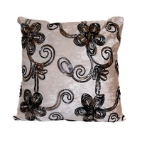40x40 Designer Vintage Style Cushion White Velvet Feel with Black & Silver Trim