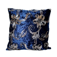 40x40 Designer Vintage Style Cushion Blue Velvet Feel with Black & Silver Trim