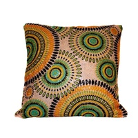 40x40 Designer Vintage Style Cushion Embroided Green, Orange and Beige Colours