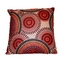 40x40 Designer Vintage Style Cushion Embroided Orange, Beige and Black Colours