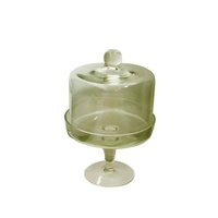 21x15cm Two Piece Vintage Style Glass Cup Cake / Desert Stand and Lid MQ-215
