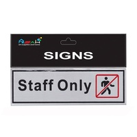 Staff Only Brushed Steel Sign Black/ Red / Silver 18x5.5cm MQ-299