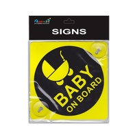 2 x 14cm Baby on Board Plastic Signs Yellow with Suction Caps MQ-300