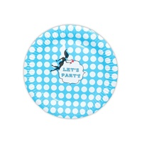 12pce Blue Polka Dot Paper Plates 23cm for Birthday Parties