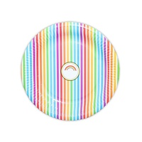 12pce Rainbow Stripe Party Paper Plates 23cm for Birthday Parties