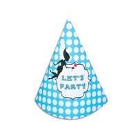 12pce Blue Polka Dots Theme Party Paper Hats 18cm for Birthday Parties