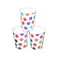 12pce Colour Polka Dots Theme Party Paper Cups 200ml for Birthday Parties