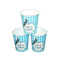 12pce Blue Polka Dots Theme Party Paper Cups 200ml for Birthday Parties