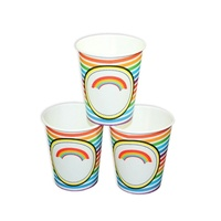 12pce Rainbow Stripe Party Cups, Great for Party Events