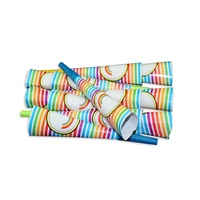 12pce Rainbow Theme Party Blow Horns 20cm for Birthday Parties