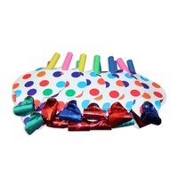 12pce Colour Polka Dots Theme Party Blow Outs 13cm for Theming for Birthday