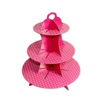 Pink Polk Dot Design 36x32cm Cardboard Cupcake Stand Holds 16 Cakes Parties