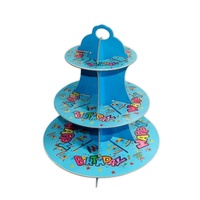 Blue Birthday Design 36x32cm Cardboard Cupcake Stand Holds 16 Cakes Parties
