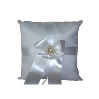 1 x Wedding Ring Cushion 20cm with Double Broach Diamante Center & Ribbon MQ-320